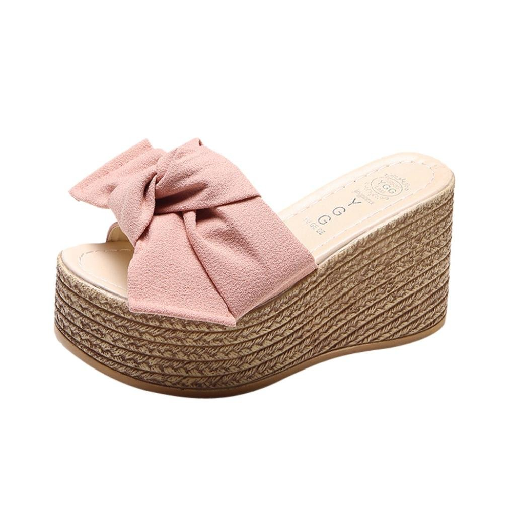 Sunbona Women Summer Slippers Ladies Bowknot Open Toe Anti-Slip High Platform Flat Wedge Sandals (US:7.5(RU/EU/CN39), Pink)