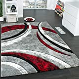 Paco Home Designer Carpet With Contour Cut Striped Model In Grey Black And Red Mixture, Size:80x150 cm