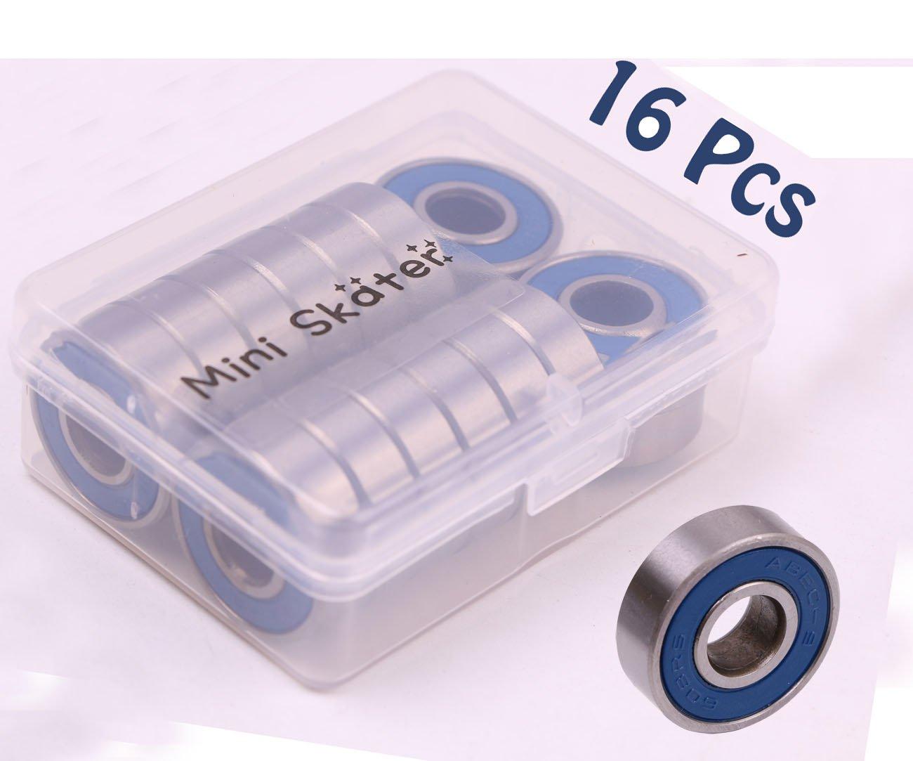 16 PCS Black Generic ABEC 9 Precision 608 RS Skate Ball Bearing Deck