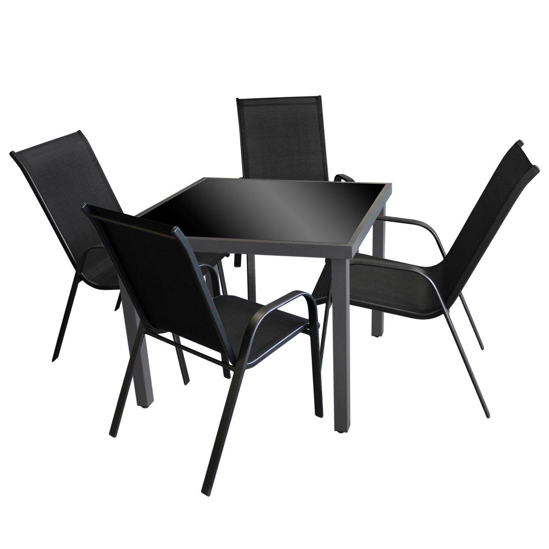 5tlg gartengarnitur gartenm bel terrassenm bel bistrogarnitur balkonm bel set sitzgarnitur. Black Bedroom Furniture Sets. Home Design Ideas