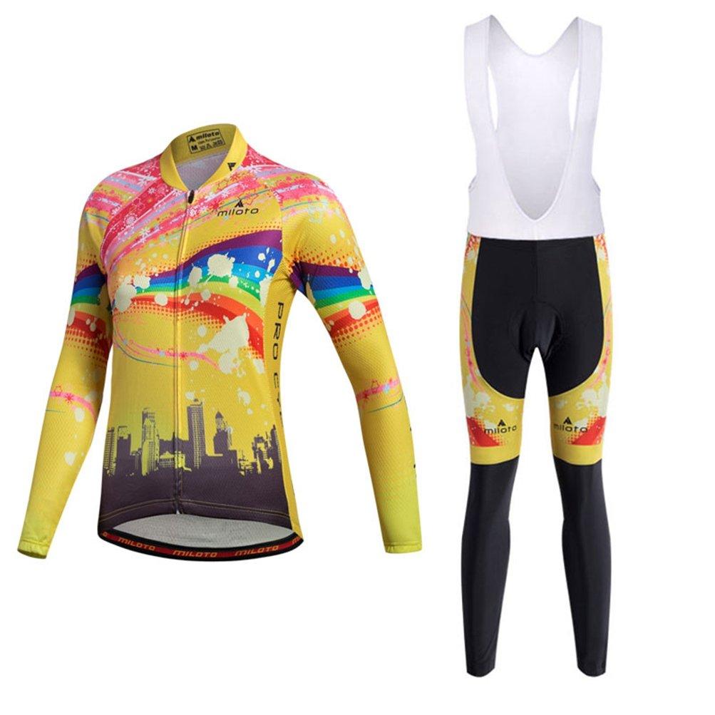 Uriah Women's Cycling Jersey Bib Pants White Sets Long Sleeve Reflective Raibow Sky Size M(CN) by Uriah