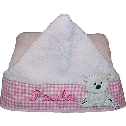 Bebé favoritas piezas con capucha toalla de mano para bebé y el nombre colour rosa