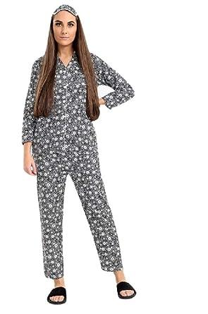 Womens Wincyette Wincy 100% Pure Cotton Brushed Warm Pyjamas with Free Eye  Mask  Amazon.co.uk  Clothing ee2341462