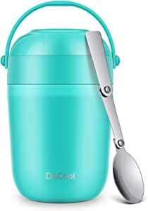 DaCool Insulated Lunch Container Kids Food Thermoses 16oz Leak Proof Vacuum Stainless Steel Keep Food Warm Container to Keep Lunch Hot Food Jar Bento for Girls Boys School Picnic Camping Cyan Blue