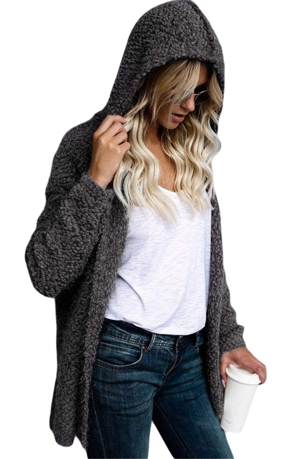 Happy Sailed Women Long Sleeve Faux Shearling Shaggy Oversized Open Front Coat Jacket Warm Hooded Cardigan Small Grey
