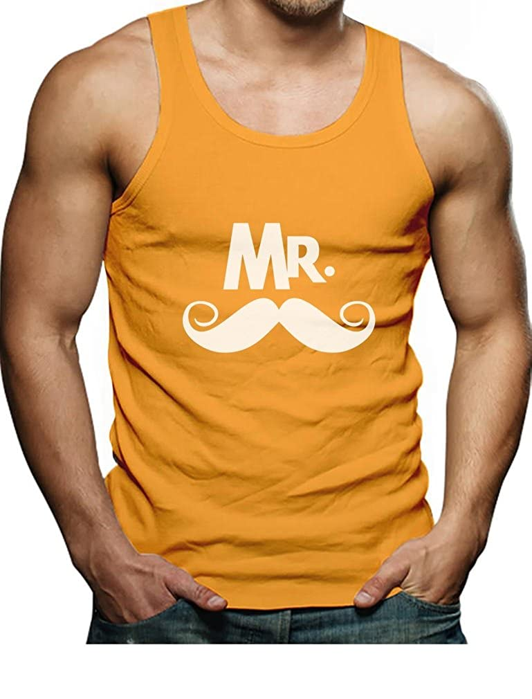 Mr Mustache Print Gift for Valentines Day Matching Couples Singlet TeeStars
