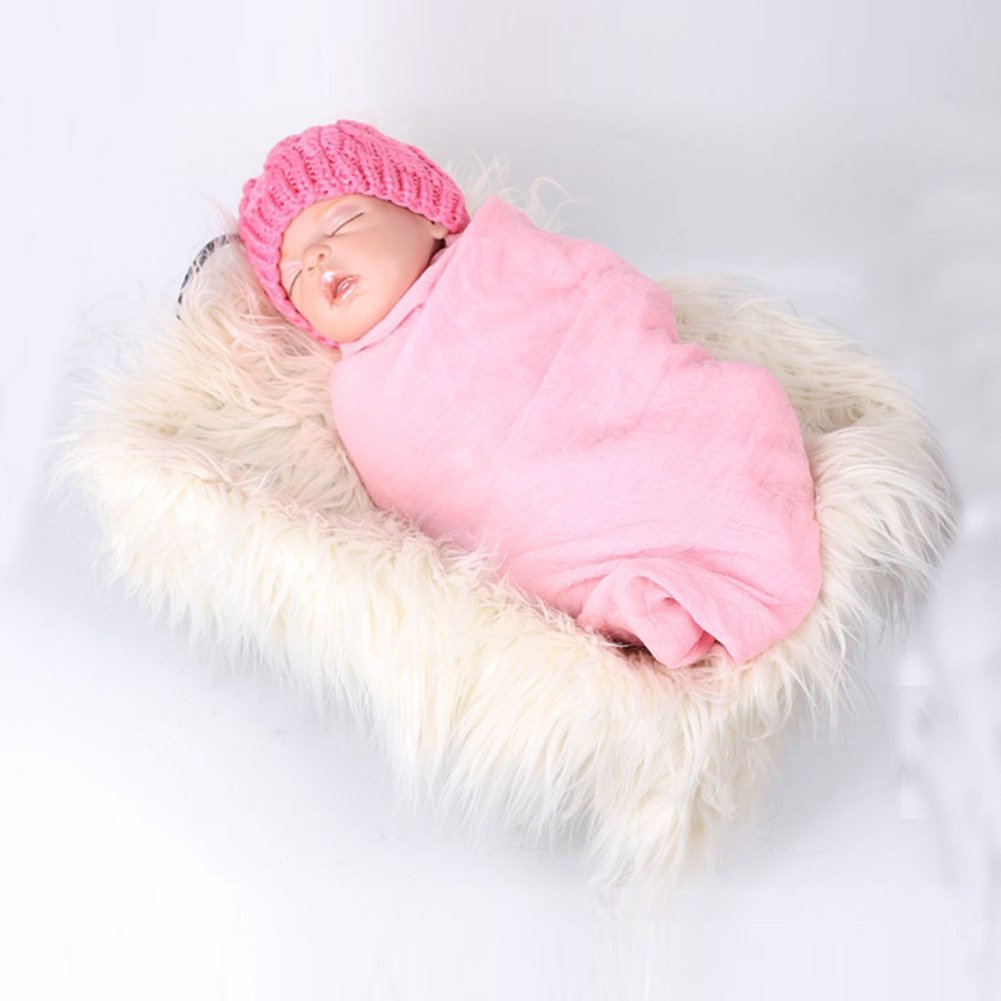 EDIONS Newborn Baby Photography Props Soft Fur Quilt Photographic Mat DIY Newborn Baby Photography Wrap-Baby Photo Props Favors Beige