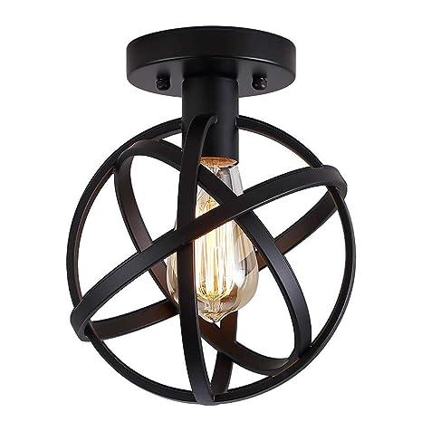 Lámpara de techo de globo rústico, lámpara de techo ...