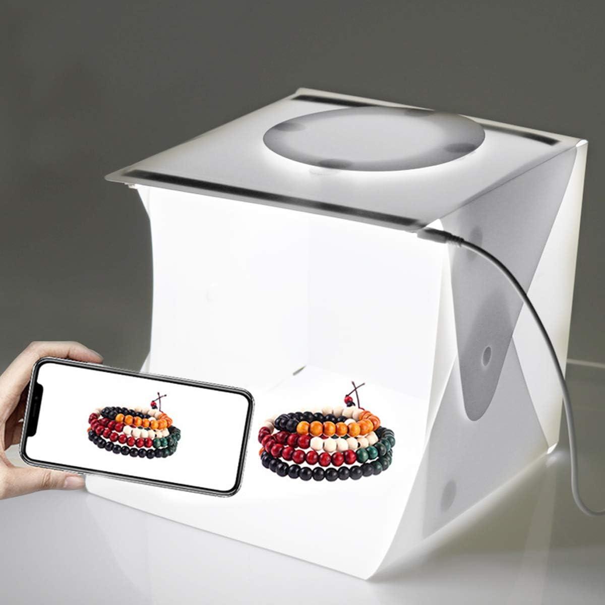 jskjlkl Portable Mini Folding Light Box Photography Photo Studio Box with Dual LED Strip Lights 6 Backdrops