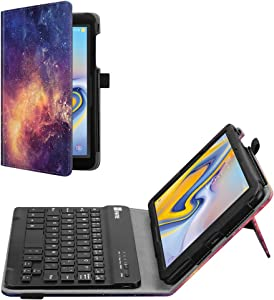 Fintie Folio Keyboard Case for Samsung Galaxy Tab A 8.0 2018 Model SM-T387 Verizon/Sprint/T-Mobile/AT&T, Premium PU Leather Stand Cover with Removable Wireless Bluetooth Keyboard, Galaxy