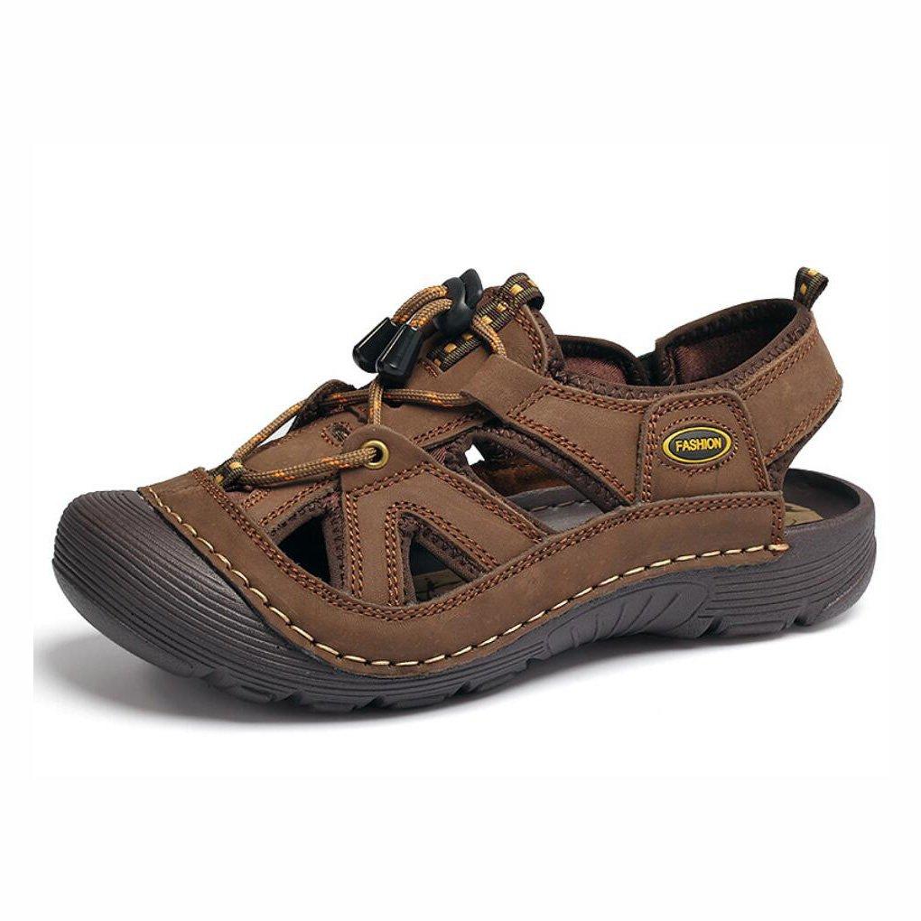 YaXuan Sandalias de Playa de Cuero de los Hombres de Verano Deportes al Aire Libre Sandalias de Caminata/Trekking Zapatos de Playa de Punta Cerrada Zapatos de vadeo de Senderismo para Hombre 45 Segundo