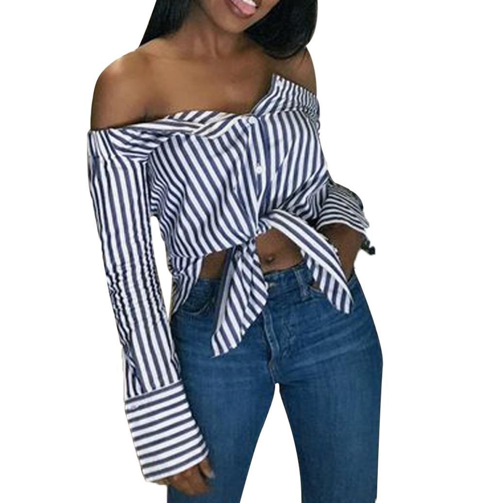 Spbamboo Women Slash Neck Long Sleeves Stripe Flare sleeve Tops Loose Blouse