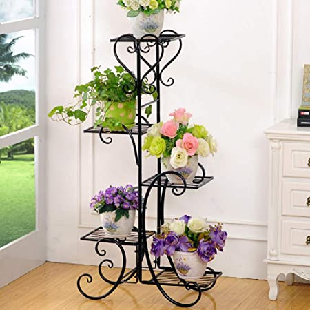 Plant Stand Metal Flower Holder Pot With 5 Tier Garden Decoration Display Wrought Iron 5 Layers Planter Rack Shelf Organizer For Garden Home Office Black 5layer Amazon In Garden Outdoors