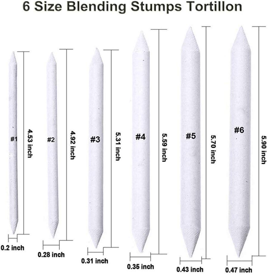 36 Pieces Artist Blending Stump and Tortillion Art Blender Set for Student Sketch Drawing Art Drawing Pens Accessories Set White