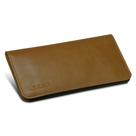 FLOVEME Universal Hombre Mujer Cartera Piel 3 Ranuras para Tarjetas Diseño Simple Monedero Largo Bolso Billetera