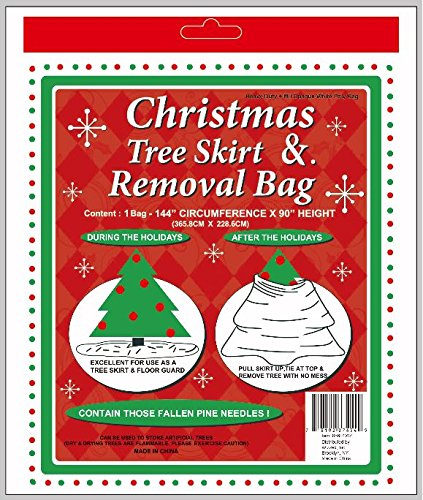 "Holiday Essentials Christmas Tree Removal Bag - NEW & IMPROVED !! - Heavier Duty 4 Mil Thickness Poly Bag - Waterproof - 144"" x 90"" Height - Fits up to 7 ft Tree"