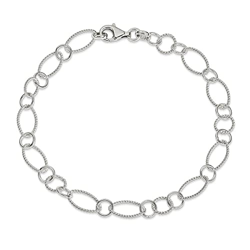 Sterling Silver Fancy Link Anklet Chain Jewelry 10