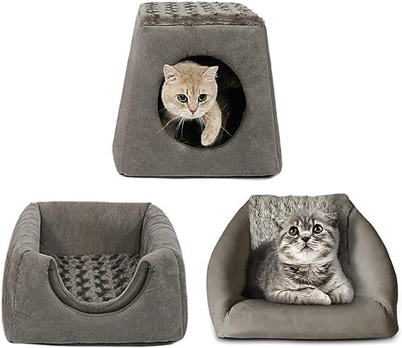 Yibaision 猫用ハウス ドーム型 猫ハウス&ペットベッド&ペット椅子 3in1 ペットハウス ベッド 取り外せるクッション付き 滑り止め底部 洗える 小型犬 猫用 ふかふか ペット用寝袋 冬用 グレー