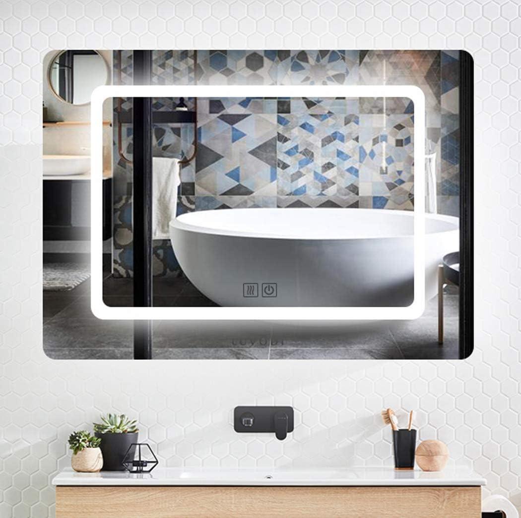 LUVODI Espejo de Baño Moderno con Iluminación LED Espejo Baño Pared con Interruptor Táctil y Función Anti-Niebla Adecuado para Hogar Baño Tocador Dormitorio 70 x 50 cm