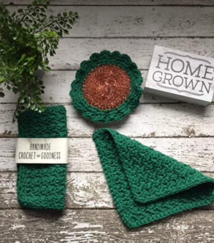 Amazoncom 3 Piece Crochet Dish Cloth Set Scrubbie Scrubby Forest