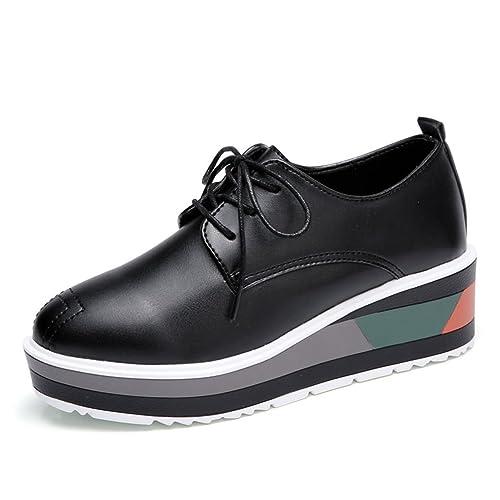 JRenok Chaussures de Ville Femme Baskets Mode Mocassins Compensé Waliking  Casuel Confort Cuir Sneaker Lacets Antidérapantes b7028193d95e