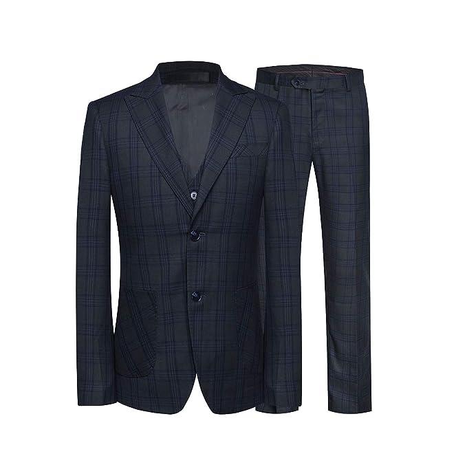 Amazon.com: yffushi para hombre rayas/cuadros 3 piezas traje ...
