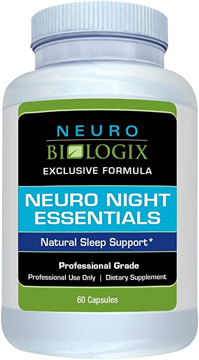 Neurobiologix Neuro Night Essentials - Sleep Support Supplement - GABA, Melatonin and 5 other nutrients to support better sleep, reduce stress, stay calm and have a peaceful night (60 Capsules)