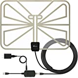 TV Antenna, Vansky 2.0 Advanced Transparent 50 Mile Indoor HDTV Antenna with Amplifier Signal Booster - 16.5FT Coax Cable - 0.4mm Super Thin