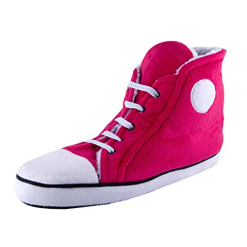 f975f3fe3961 Funky Retro Trainers Style Ladies Hi-Top Plush Slippers - Pink   Amazon.co.uk  Shoes   Bags