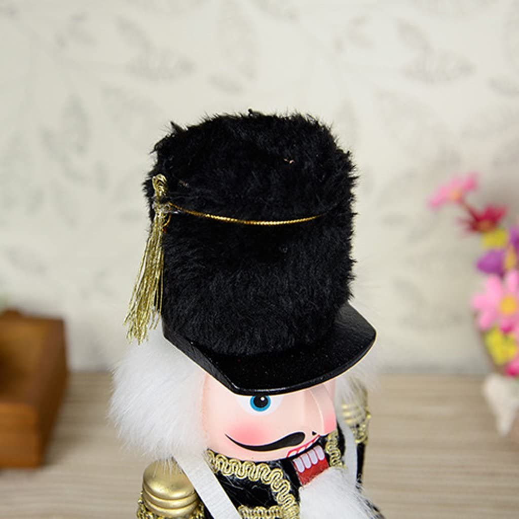 Festive Christmas Decor 12 inch Tall Perfect for Shelves and Tables chiwanji Traditional Wooden Soldier Drummer Nutcracker Black Uniform
