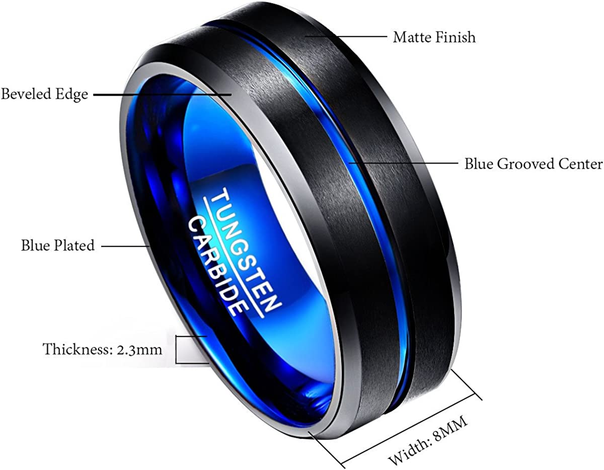 Men Fashion Jewelry Wedding Band Engagement Ring Friendship Ring Lifestyle Ring Black Blue Size J/½ to Z+5 Nuncad Ring Mens//Womens Tungsten Carbide Outside Width 8mm Convenient