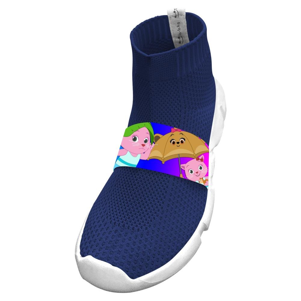 Fly Knit Lightweight Cute Cat Sister Athletic No Tie Sneakers For Boys
