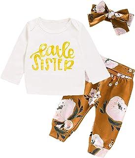 WENBIAO Big Sister Little Sister Matching Outfit Big Sister Little Sister Shirts Letter Floral Print Long Sleeve
