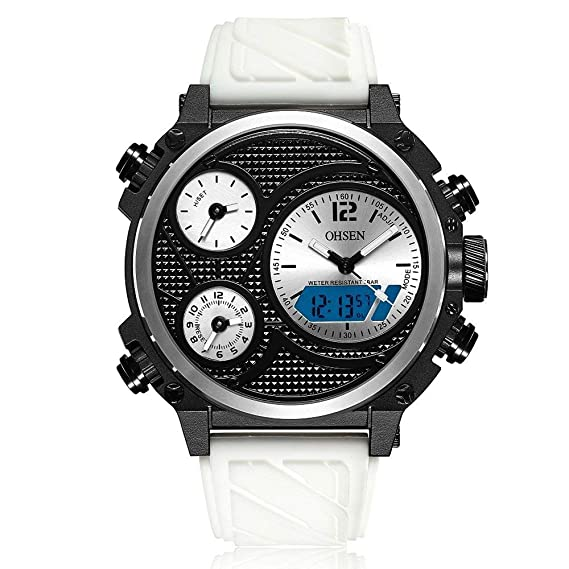 OHSEN AD1801 Correa de Silicona Casual Reloj electrónico de Cuarzo para Hombres: Amazon.es: Relojes