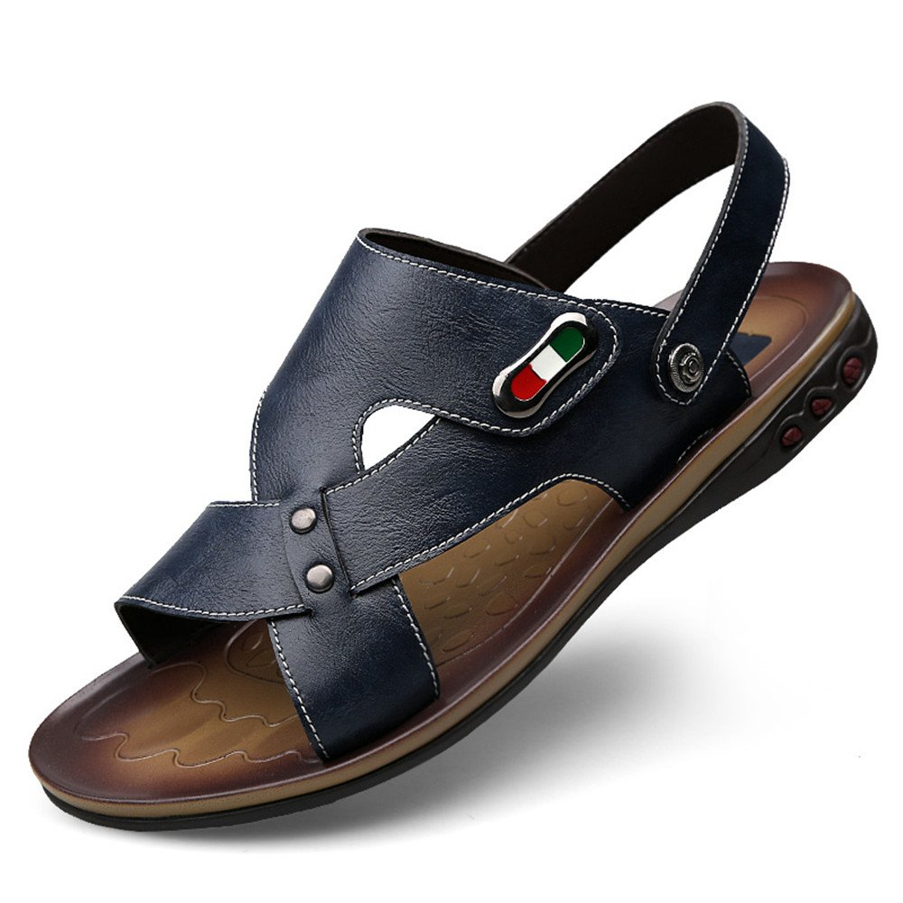 Men's Genuine Cowhide Leather Beach Slippers Casual Sandals Non-Slip shoes Adjustable Backless (color   blueee, Size   8.5 UK)
