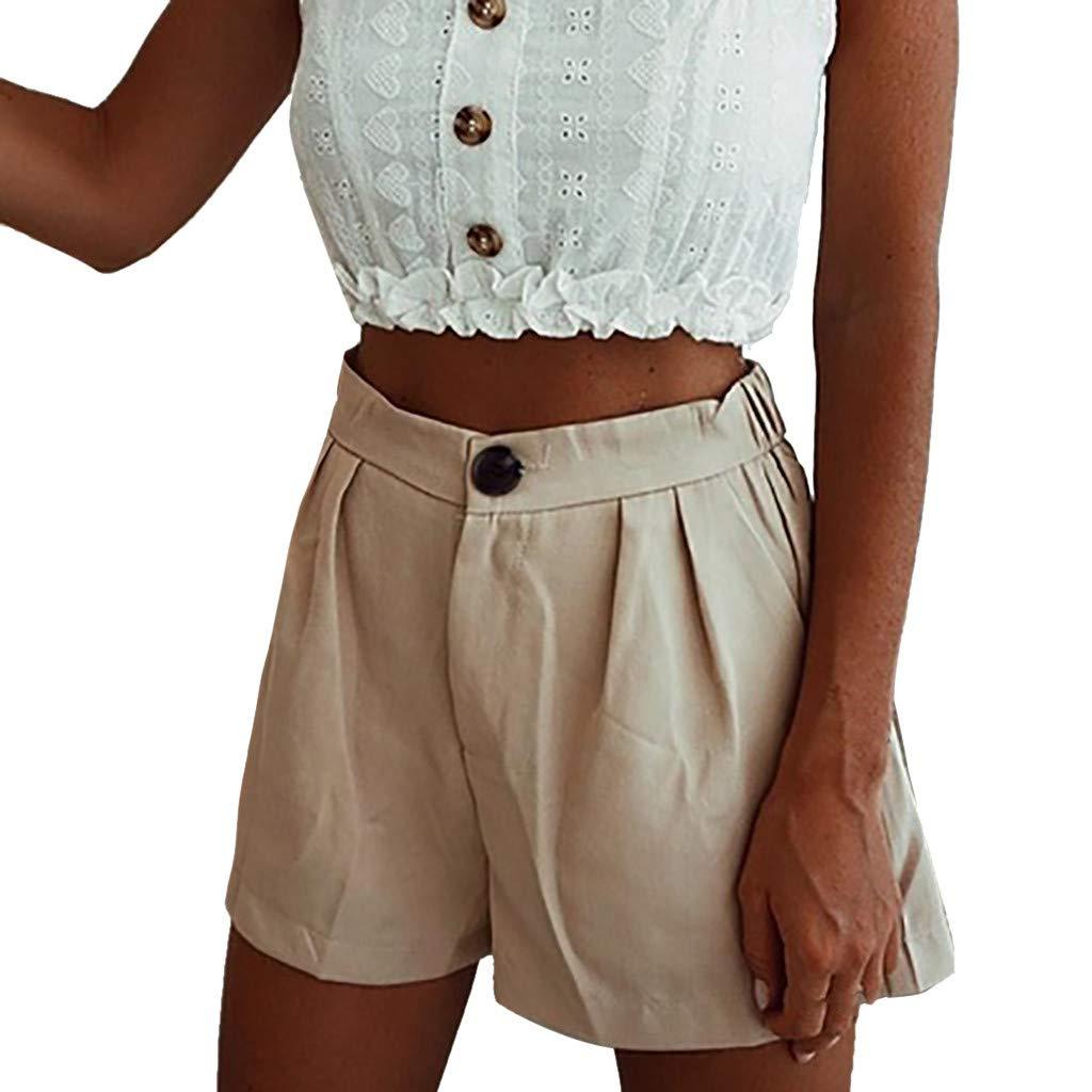 ZEFOTIM ✿ Casual Pants for Women Sexy Shorts Solid High Waist Short Pants Pockets Casual Beach Shorts(Beige,XXXX-Large) by ZEFOTIM