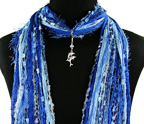 Twin Dolphin Jewelry Scarf Necklace ~ Double Dolphin ~ Blue Green Purple ~ Multiple Scarf Colors Available ~ Boho Fringe Scarf ~ Detachable Pendant Option