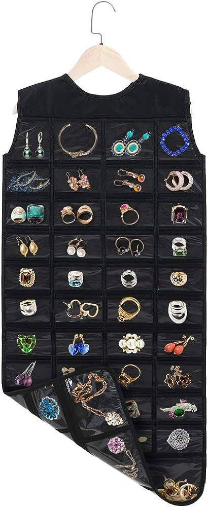 Pendientes accesorios 1 Percha de madera Collares 86 bolsillos Visible Organizador de Joyas Colgante a Doble para Viaje Fnova Organizador de Joyer/ía Colgante