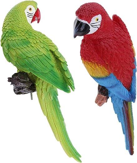 2 Piece Realistic Parrot Sculpture Figure