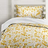 Marigold Yellow Folktale Forest Animals Duvet Cover Twin Size Bedding, White and Gold Woodland Creatures