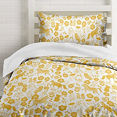 here The Polka Dots Roam Marigold Yellow Folktale Forest Animals Duvet Cover Twin Size Bedding, White and Gold Woodland Creatures - Twin 2 Piece Set includes 1 Duvet Cover (86'' L x 68'' W) and 1 Pillowcase (20'' L x 30'' W) Comforter Insert Not Included Wrinkle Free & Stain Resistant! Beautiful Horses, Flowers, Bunnies, Owls, and Foxes Made of Lightweight Microfiber material that is ultra soft and perfect twin bedding for girls - sheet-sets, bedroom-sheets-comforters, bedroom - 61s4D4f9PyL. SS400  -
