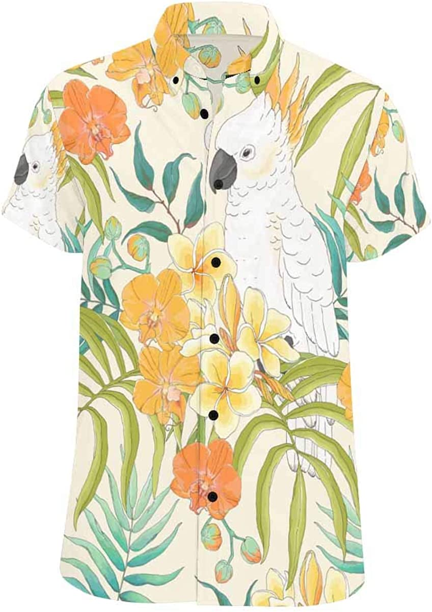 INTERESTPRINT Mens Botton Up Fashion Show Crowd Short Sleeve Shirts S-5XL