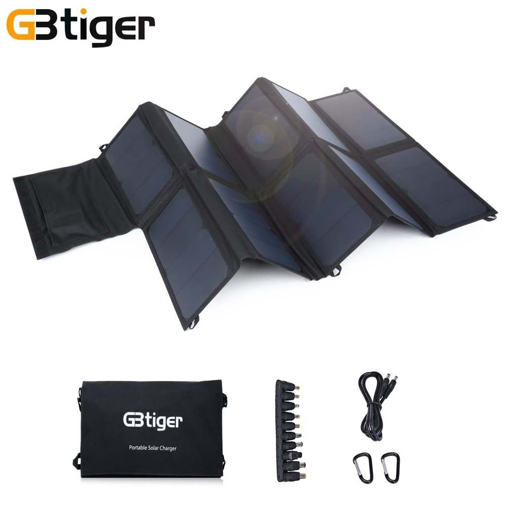 Portable Solar Sun Panel Power Charger with Dual Outputs for Phone 65W
