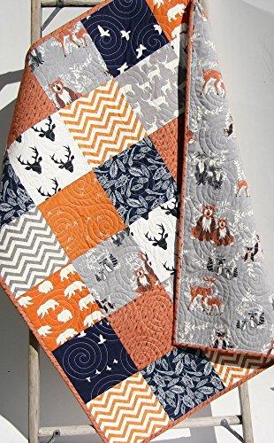 Orange Boy Quilt Modern Baby Bedding Arrows Woodland Deer Bear Brown Tan Navy Blue Orange Buck Feathers Handmade Crib or Toddler Size Aztec Nursery Crib Quilt