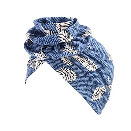 Muslim Hat Women Girls Ladies, Sttech1 India Muslim Stretch Cotton Retro  Floral Turban Hat Head Scarf Wrap Cap (Sky Blue)