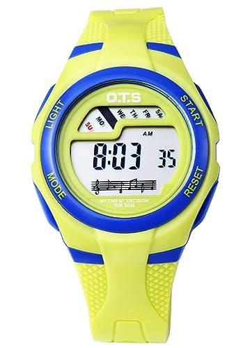 OTS - Reloj Digital Deportivo con Alarma Impermeable Luminoso de Cuarzo Cronómetro para Niños Niñas y Estudiantes - Color Amarillo: Amazon.es: Relojes