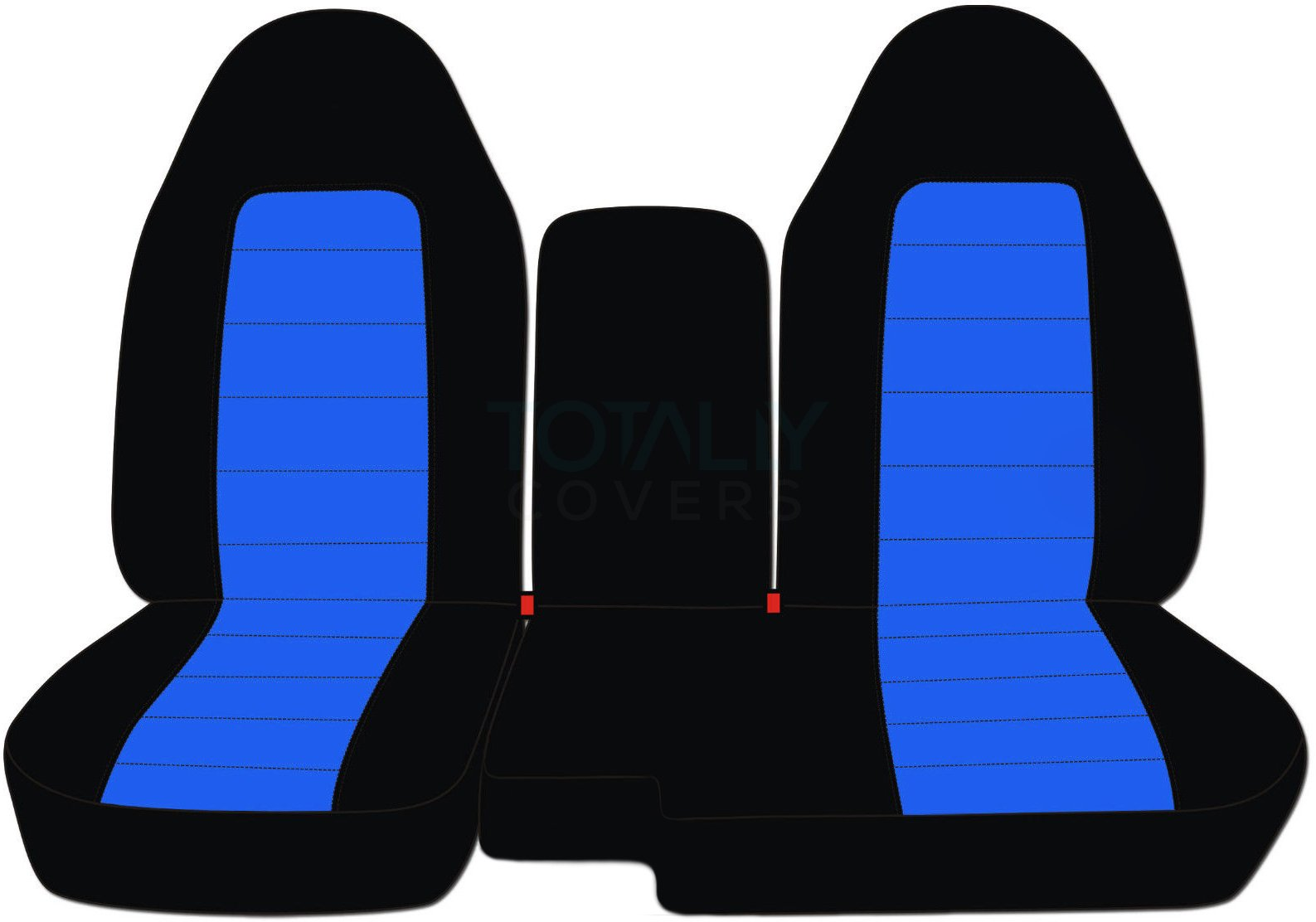 Totally Covers Fits 2004-2012 Ford Ranger/Mazda B-Series Two-Tone Truck Seat Covers (60/40 Split Bench) with Center Armrest/Console Cover: Black & Blue (21 Colors) 2005 2006 2007 2008 2009 2010 2011