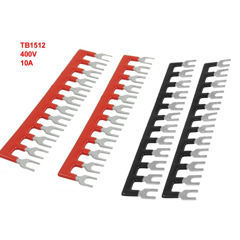 URBEST 400V 10A 12 Postions Pre Insulated Fork Terminal Stripes 4 Pcs 6230643