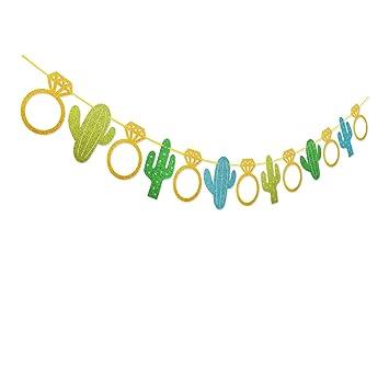 sfvan fiesta bachelorette banner cactus wedding garland glitter bridal shower engagement bachelorette party favor decorations