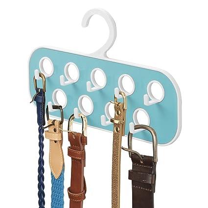 mDesign Percha para Cinturones con 9 Ganchos y 9 Orificios – Organizador de Armario – Útil como corbatero o como Colgador de pañuelos y bisutería – ...